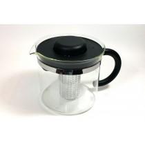 Tetera cilindrica de Cristal con capacidad para 1 litro de té, incluye un filtro grande de poro conico para filtrar perfectament
