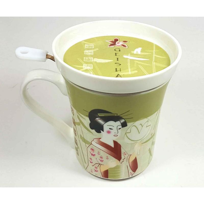 Tazas para t decoracion geisha taza estilo japones for Tazas de te con tapa