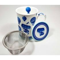 Taza porcelana globos azules