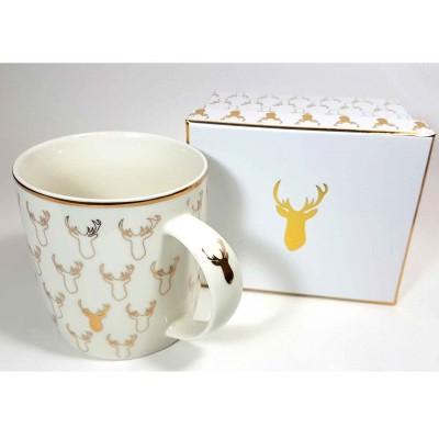Taza Reno dorado con caja regalo