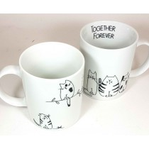 Taza together forever gato