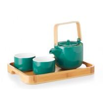 Juego de té con bandeja bambú