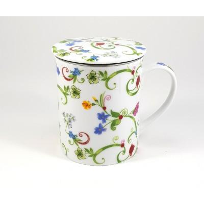 Taza porcelana floral