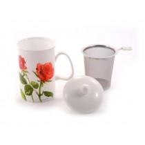 Taza 3pc Porcelana Rosas